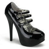 Czarny Lakierowane 14,5 cm TEEZE-05 buty damskie na wysokim obcasie