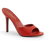Czerwone 10 cm CLASSIQUE-01 Niskie Klapki Damskie