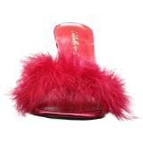 Czerwone 10 cm CLASSIQUE-01F Klapki damskie z pióra marabuta