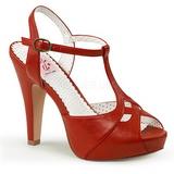Czerwone 11,5 cm retro vintage BETTIE-23 Sandały na obcasie wieczorowe