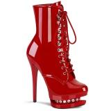 Czerwone 15,5 cm BLONDIE-R-1020 botki z sznurowane na wysokim obcasie w lakierowane