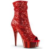 Czerwone 15 cm DELIGHT-1008SQ botki z cekinami na wysokim obcasie