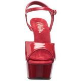 Czerwone 15 cm Pleaser DELIGHT-609 Wysokie obcasy platformie