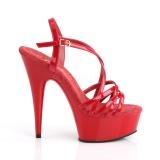 Czerwone 15 cm Pleaser DELIGHT-613 Sandały na wysokim obcasie