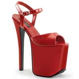 Czerwone 18,5 cm Devious TRAMP-709 Fetysz High Heels Obuwie Platform