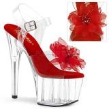 Czerwone 18 cm ADORE-708BFL pleaser sandały z platformie