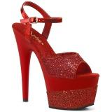 Czerwone 18 cm ADORE-709-2G blasku sandały na platformie
