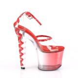 Czerwone 18 cm LOVESICK-712T pleaser sandały z gorset obcasy