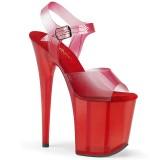 Czerwone 20 cm FLAMINGO-808N-T pleaser sandały z platformie
