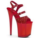 Czerwone 20 cm FLAMINGO-874 blasku sandały na platformie