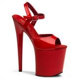 Czerwone 20 cm Pleaser FLAMINGO-809 wysokie obcasy na platformie