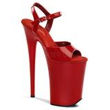 Czerwone 23 cm INFINITY-909 bardzo wysokie obcasy na platformie