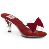 Czerwone 7,5 cm BELLE-301BOW Pinup klapki na obcasie z muszką