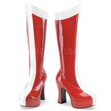 Czerwone Biały 11 cm EXOTICA-305 Platformie Kozaki Damskie