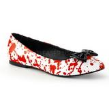 Czerwone Biały VAIL-20BL buty baleriny damskie niski obcas