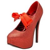 Czerwone Blasku 14,5 cm TEEZE-04G buty damskie na wysokim obcasie