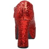 Czerwone Glitter 11 cm MARYJANE-50G Platformie Szpilki Mary Jane