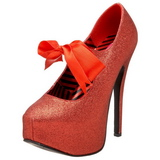 Czerwone Glitter 14,5 cm Burlesque TEEZE-04G buty damskie na wysokim obcasie