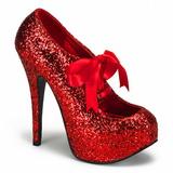 Czerwone Glitter 14,5 cm Burlesque TEEZE-10G Platformie Szpilki Buty