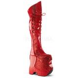 Czerwone Glitter 22 cm FABULOUS-3035 Kozaki za Kolano dla Drag Queen