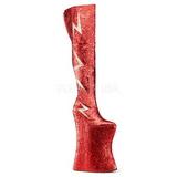 Czerwone Glitter 34 cm VIVACIOUS-3016 Kozaki za Kolano dla Drag Queen