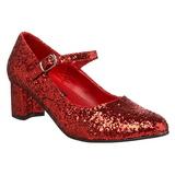 Czerwone Glitter 5 cm SCHOOLGIRL-50G Szpilki Mary Jane