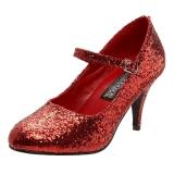 Czerwone Glitter 7,5 cm GLINDA-50G Szpilki Mary Jane