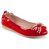 Czerwone IVY-09 baleriny płaskie buty z perły
