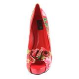Czerwone Kwiatowy 13 cm LOLITA-11 buty damskie na wysokim obcasie