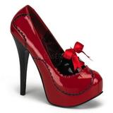 Czerwone Lakierki 14,5 cm Burlesque BORDELLO TEEZE-01 Szpilki na wysokim obcasie