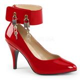 Czerwone Lakierowane 10 cm DREAM-432 duże rozmiary szpilki buty