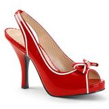 Czerwone Lakierowane 11,5 cm PINUP-10 duże rozmiary sandały damskie
