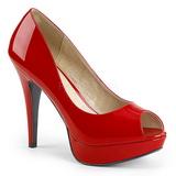 Czerwone Lakierowane 13,5 cm CHLOE-01 duże rozmiary szpilki buty