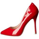 Czerwone Lakierowane 13 cm AMUSE-20 szpilki ze szpicem wysokie obcasy