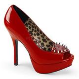 Czerwone Lakierowane 13 cm PIXIE-17 buty damskie na obcasie z nitami