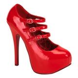 Czerwone Lakierowane 14,5 cm TEEZE-05 buty damskie na wysokim obcasie
