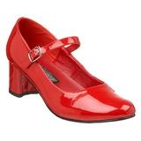 Czerwone Lakierowane 5 cm SCHOOLGIRL-50 klasyczne szpilki damskie