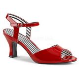 Czerwone Lakierowane 7,5 cm JENNA-09 duże rozmiary sandały damskie