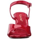 Czerwone Lakierowane 8 cm BELLE-309 Sandały damskie na obcasie