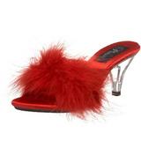 Czerwone Pior 8 cm BELLE-301F Klapki Obcasy dla Mężczyzn