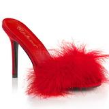 Czerwone Pióra 10 cm CLASSIQUE-01F Klapki Obcasy dla Mężczyzn