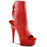 Czerwone Platformie Botki Damskie 16 cm DELIGHT-1018