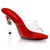 Czerwone Przeźroczysty 11 cm Pleaser CARESS-401FL Platformie Klapki