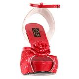 Czerwone Satyna 12 cm PINUP BETTIE-06 Wysokie obcasy platformie
