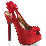Czerwone Satyna 14,5 cm Burlesque TEEZE-56 Sandały na wysokim obcasie