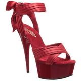 Czerwone Satyna 15 cm DELIGHT-668 Sandały na obcasie wieczorowe
