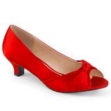 Czerwone Satyna 5 cm FAB-422 duże rozmiary szpilki buty