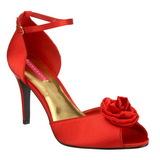 Czerwone Satyna 9,5 cm ROSA-02 Sandały damskie na obcasie