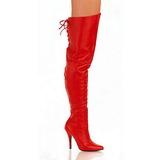 Czerwone Skóra 13 cm LEGEND-8899 Kozaki za kolano na obcasie