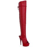 Czerwone Skóra Ekologiczna 15 cm DELIGHT-3019 Kozaki za Kolano Platformie
